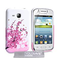 Yousave Accessories Floral Bee Silicone Gel Cover for Samsung Galaxy Young - Pink