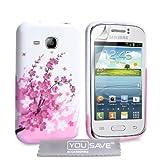 Yousave Accessories Custodia in Silicon Gel per Samsung Galaxy Young, Modello Floreale, Bianco/Rosa