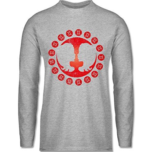Shirtracer Symbole - Tierkreiszeichen Zwillinge - Herren Langarmshirt Grau Meliert