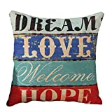 Lumanuby 1 Stück Pillow Case Baumwolle und Leinen Material Kissenbezug 45*45cm Amerikanischer Landhausstil mit einfachem Wort Design Zierkissenbezüge, Nützlich Wohnaccessoires zum Dekorieren von Sofa, Bett oder Auto, Stil F