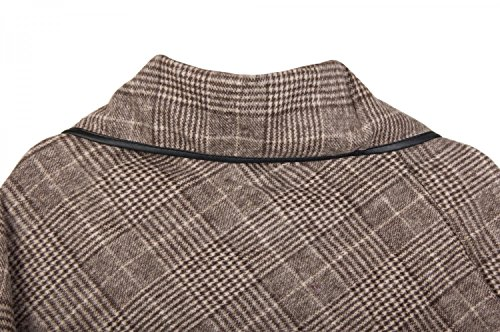 styleBREAKER Poncho mit edlem klein karierten Muster und Knebelknopf am Kragen, Damen 08010003 Schwarz-Weiß
