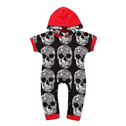 AchidistviQ Baby-Strampler mit Totenkopf-Motiv, kurzärmelig, im Schritt, Baumwolle, Schwarz, 90cm(12-18M) (Kleider Juniors Arbeit)