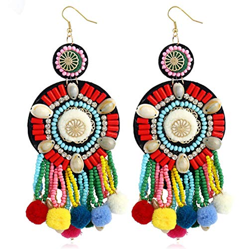 HSUMING Long Tassel Ohrringe für Frauen Elegant Long Fringe Bead Drop Earrings Dangle Bohemian Beaded Tassel Ohrringe