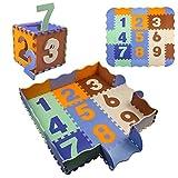StillCool Puzzle Tapis Mousse Bébé avec Clôture, 25 Pièces Tapis de Jeu Très Résistant pour Enfants, Chiffres