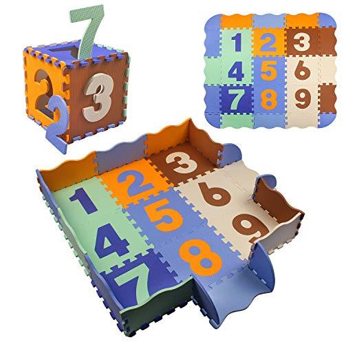 Tappeto Bambini Puzzle, Tappeto Puzzle da Gioco Multicolore in Soffice Schiuma Eva Pieghevole con Bordo Recinto per Casa e All\'aperto (Multicolore)