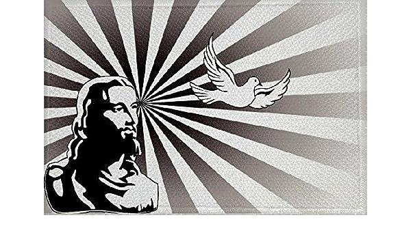 U24 Aufn/äher Jesus mit Taube Fahne Flagge Aufb/ügler Patch 9 x 6 cm