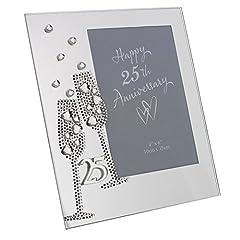 Idea Regalo - Widdop Bingham & Co Ltd WG45425 - Portafoto in vetro, colore: argento, motivo: nozze d'argento, dimensione 7,5
