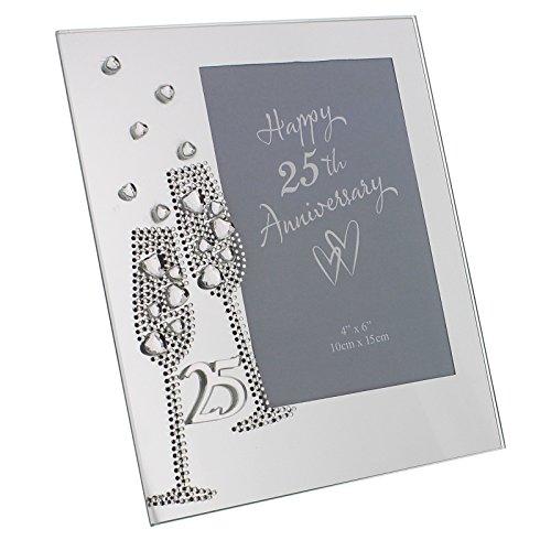 Marco de fotos de cristal de 25º aniversario de boda, bodas de plata, diseño de copas de champán y diamantes (19x 16,5 cm) - WG45425