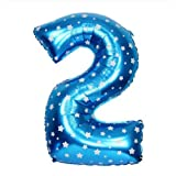 Number Foil Balloons 2 - Blue, Foil Ball...