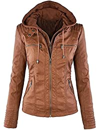 OUO Womens Hooded Classic Faux Leather Zip up Motorcyle Detachable Jacket