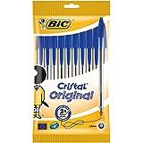 BIC Cristal Original - Caja de 10 unidades, bolígrafos punta media (1,0 mm), color azul