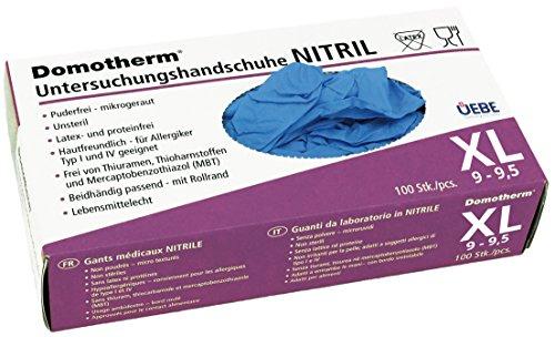 Domotherm Nitril Untersuchungshandschuhe XL (Größe 9-9,5), 100 Stück Nitrilhandschuhe