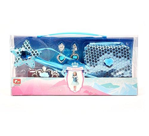 Großes Eisprinzessin Schmuck Set mit Diadem Zepter Ohringe und Tasche Kinder Kostüm Zauberstab Prinzessin Schuhe