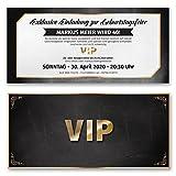 (30 x) Einladungskarten Geburtstag VIP Ticket Eintrittskarte Gold Schwarz Einladungen