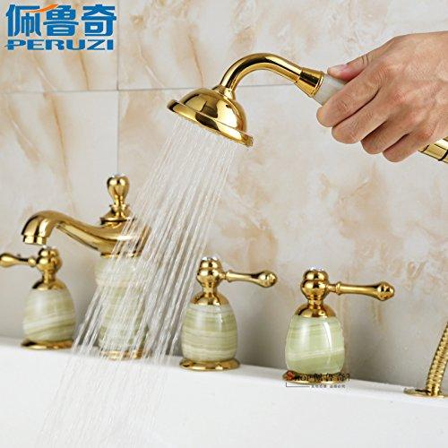 Bijjaladeva Wasserfall Mischbatterie Armatur Waschbeckenarmatur für 5-Loch Golden Jade Badewanne Armatur, 5-Teilig Bad – Dusche Wasserhahn Split Heiße und Kalte Voll Kupfer