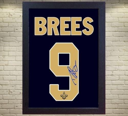 Drew Brees New Orleans Saints NFL unterzeichnet T-Shirt Leinwand 100% Baumwolle gerahmt