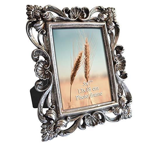 PETAFLOP Bilderrahmen Silber 13x18 antik Fotorahmen Vintage Rahmen Hochzeit Geschenk Freund