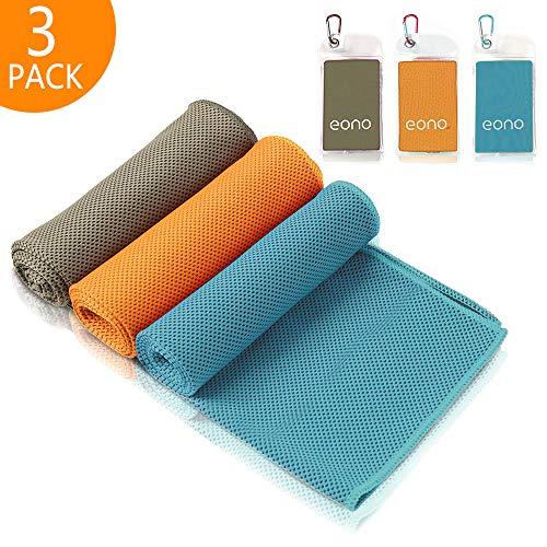 Eono by Amazon - 3 PCS 100x30cm Asciugamano Raffreddamento, Istantaneo Freddo Ghiaccio Asciugamano, Sportivo Asciugatura Rapida Gym Sciarpa Towel, Grigio scuro-Arancione-Blu