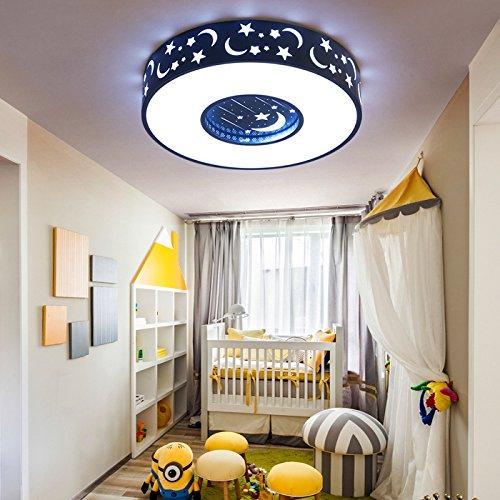 BRFVCS ceiling light Kinderzimmer Deckenleuchte Rundschreiben Schlafzimmer licht Jungen und Mädchen zimmer Lampe warm einfacher Stern Mond Licht, Blau / Durchmesser 40 cm / Weiß LED LED
