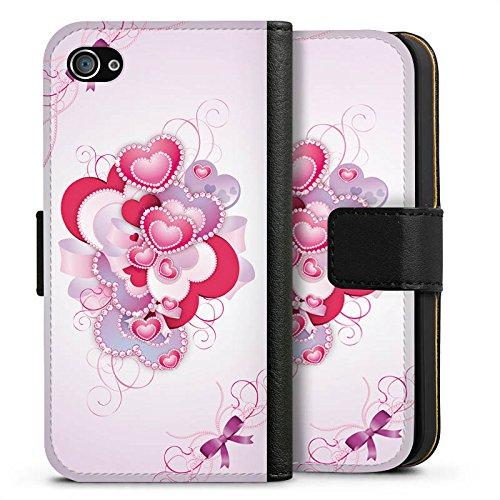 Apple iPhone X Silikon Hülle Case Schutzhülle Herz Luxus Love Muster Sideflip Tasche schwarz