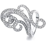Bling Jewelry Art Deco Style Swirl CZ Fashion Cocktail Ring Rhodium Plated
