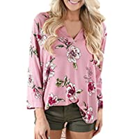 Yukong Women Casual Floral Pint Shirt Tops Long Sleeve Blouse (S, Pink)