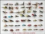 50zufällig ausgewählt Fliegenfischen Fliegen Set 49J + 1–14Haken Größe