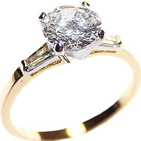 Free Engraving! 4.00ct Two Tone Gold Ladies Sparkling Simulated Diamonds Ring. 8.5mm Center Stone. Baguette Side Setting. GF. Outstanding