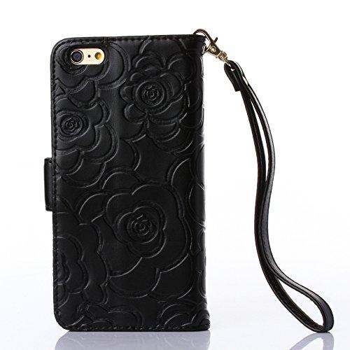 Pour iPhone SE Coque, iNenk® Retro Une fleur Modèle Téléphone Coque PU Cuir Portefeuille Carte Chaîne Téléphone Coque Housse protection-Bleu Noir