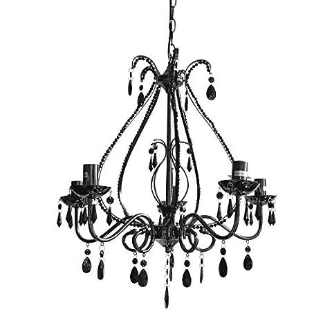 Black 5 Arm Chandelier Ceiling Light Fitting Lighting Shade Pendant New