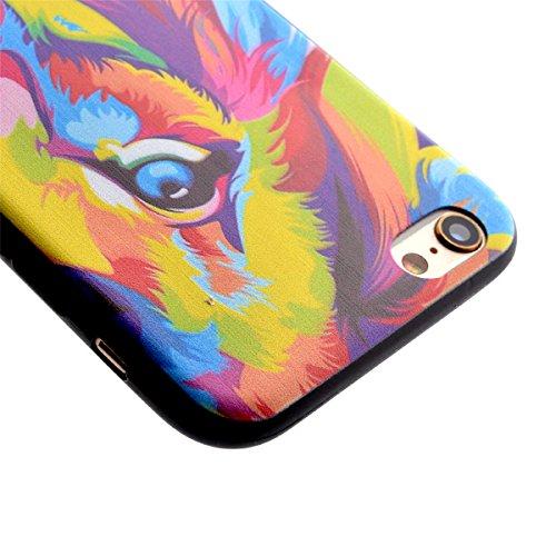 Voguecase® Per Apple iPhone 5 5G 5S, Custodia Silicone Morbido Flessibile TPU Custodia Case Cover Protettivo Skin Caso (Nero - unicorno) Con Stilo Penna Nero - acquerello Leone testa