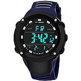 Herren Sport Armbanduhr, Zolimx Multifunktions-Militärsportuhr der Männer LED Digital-Doppelbewegungsuhr SYNOKE im Freiensport-leuchtende wasserdichte elektronische Uhr (Blau)
