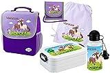 Mein Zwergenland Set 6 Kindergartenrucksack mit Brotdose, Turnbeutel aus Baumwolle, Trinkflasche und Brustbeutel Happy Knirps mit Name Pferde, 5-teilig, Lila