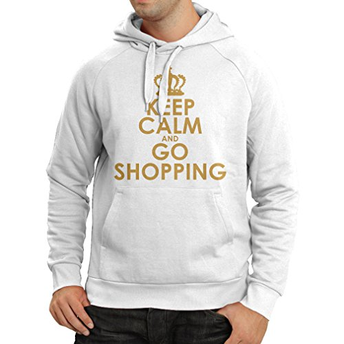 N4579H Felpa con cappuccio Keep Calm and Go Shopping! Bianco Oro