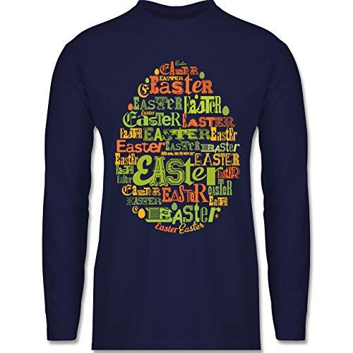 Ostern - Osterei Typografie bunt - Longsleeve / langärmeliges T-Shirt für Herren Navy Blau
