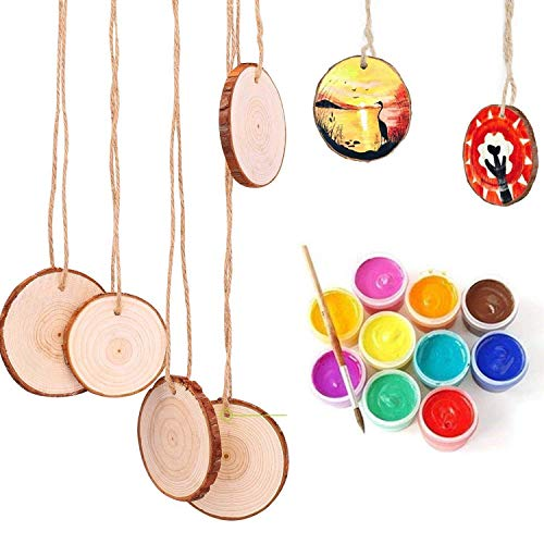 Wooden Discs (Pack of 50) 3-5 cm Unfinished Wood Slices with 3 mm Threading Hole - Rustic Wood Logs with Bark and Smooth Finish - 3-5 mm Thickness Depth - Wooden Rounds for Crafts and Decorations