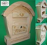 HBK-RD-NATUR Holz-Briefkasten, Briefkasten groß hell natur unbehandelt für Gartenhaus Holzhaus und Eingang Gartendeko mit Holzdach Dekoration Briefkästen Postkasten Runddach