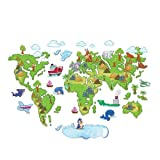 SuperStudio LO+DEMODA Map Kids Vinilo Decorativo, diseño Mapamundi Infantiles, 0.1x120x80 cm