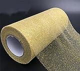 Tüll Dekostoff Glitzer Tüllband Tischläufer Tischband Tüllnetz für Hochzeit Party Bankett Deko Handwerk 15cm x 22.5m pro Rolle (Golden mit Glitzer) - 2