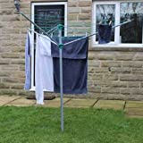 JVL 30 m Compact and Robust 3-Arm Steel Rotary Clothes Airer Drier, Green by