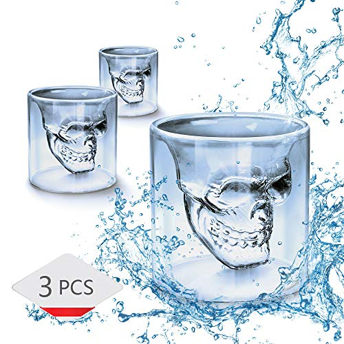 MHOYI Totenkopf Schnapsglas, ,75ml Kristall Gläser, Double Layer Transparent Totenkopf Pirat Shotglasses Drink Cocktail Beer Cup,Trinken Ware Becher, dicker Boden Creative Halloween - 3 Pcs (Wodka-drinks Halloween Für)