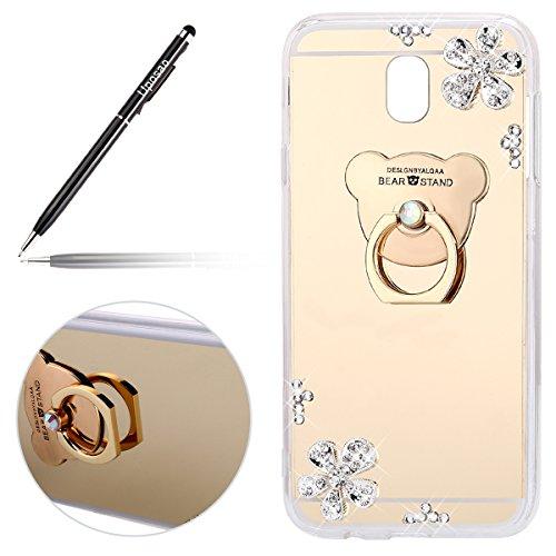Uposao Spiegel Hülle Samsung Galaxy J7 2017 J730 Hülle Silikon Durchsichtig Tasche Luxus Glänzend Kristall Strass Bär Handyhalterung Handyring Handy Ständer Silikonhülle,Gold