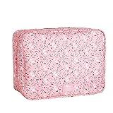 Dexinx Tragbar Gedruckt Aufbewahrungstasche Organizer Große Kapazität Wasserdicht Verpackungswürfel Organizer für Steppdecke Kleidertaschen Pink
