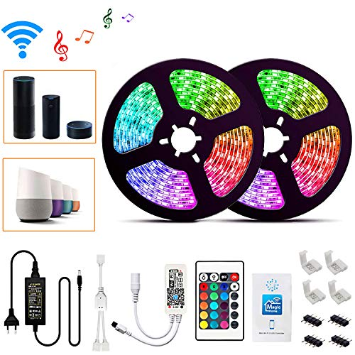 Wlife Wifi Led Streifen,10m RGB Dimmbar Led Stripes Controller mit Alexa,Google Home, IFTTT, Wireless Smart Phone Gesteuert Full Kit, IP65 Wasserdichte,SMD 5050 16 Millionen Farben,12V 5A Netzteil