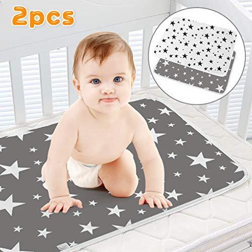 SACONELL - Juego de 2 cambiadores impermeables para bebé de 50 x 70 cm 2 unidades, color gris Gris...