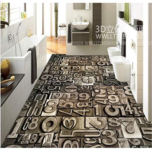 3D Boden Malerei Tapete Vintage Stein Digitale Moderne Abstrakte Muster 3D Boden Pvc Boden Tapete 3D Bodenbelag 400X280Cm -