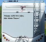 Aufkleber Träume nicht dein Leben Wohnmobil Wohnwagen Camping Camper Caravan - 55 cm / Schwarz