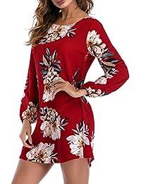 ABCone-Donna Pullover Felpa Mini Abito Floreale con Fiocco sul Collo T-Shirt  Maniche 66c4cddb906