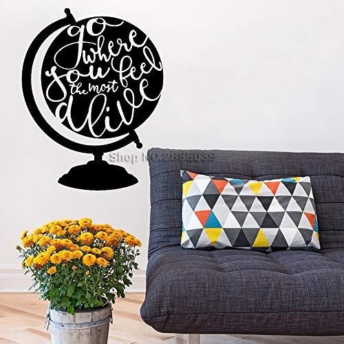 zhuziji Gehen Sie, wo Sie Sich am lebendigsten fühlen Art Adventure Globe Wand Zitat Vinyl Wandtattoo für Kinderzimmer Dekor Wandaufkleber 888-1 M 56 cm x 72 cm -