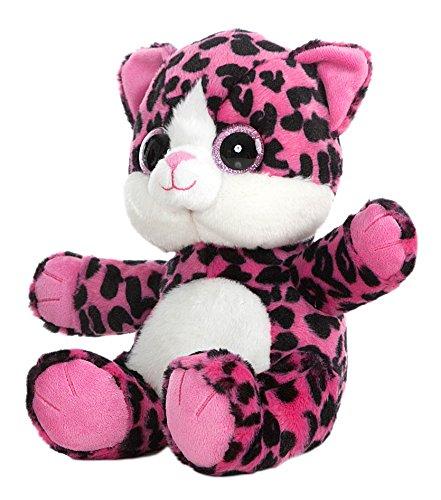 GATO OJOS BRILLANTES - Peluche Gato rosa con manchas negras (25cm) - Buena calidad